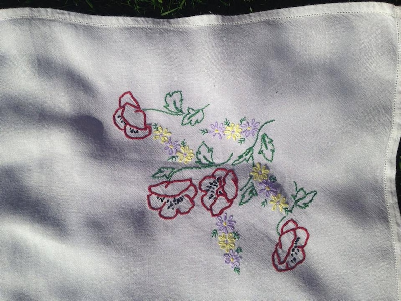 Vintage embroidered tablecloth with poppies image 0