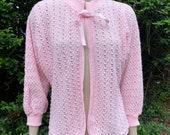 Vintage style pale pink soft knit acrylic bed jacket. Nightwear, lingerie, boudoir, glamour.