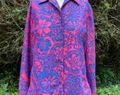 Vintage 1960s, 1970s Bright Psychedelic Blouse, Shirt, Hot Pink & Purple Floral.