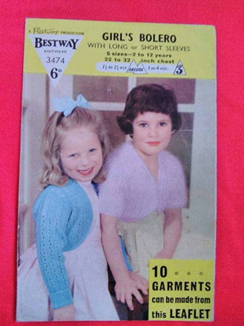 Vintage 1950s Knitting Pattern for Child's Little image 0