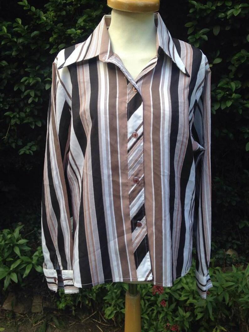 Vintage  1970s Ladies' Striped Blouse Shirt Top. Long image 0