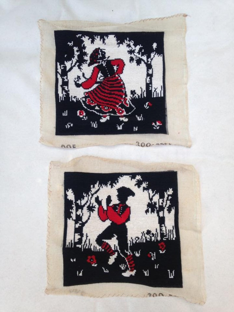 Pair of Vintage Tapestry Embroidery Pictures. Dutch people image 0