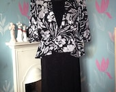 Vintage Black & Silver 1980s Dress, As New With Tags. Shoulder Pads, Jacquard, Peplum, New Romantic.