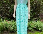 Vintage 1970s Green and Floral Nightgown from Fresca. Nightie, Nightdress, Nightwear, Festival Dress.