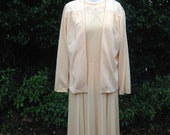 Vintage 1980s Two Piece Dress and Jacket Suit, Pleated Skirt, Smart, Wedding Outfit. Pale Creamy Peachy Gold.