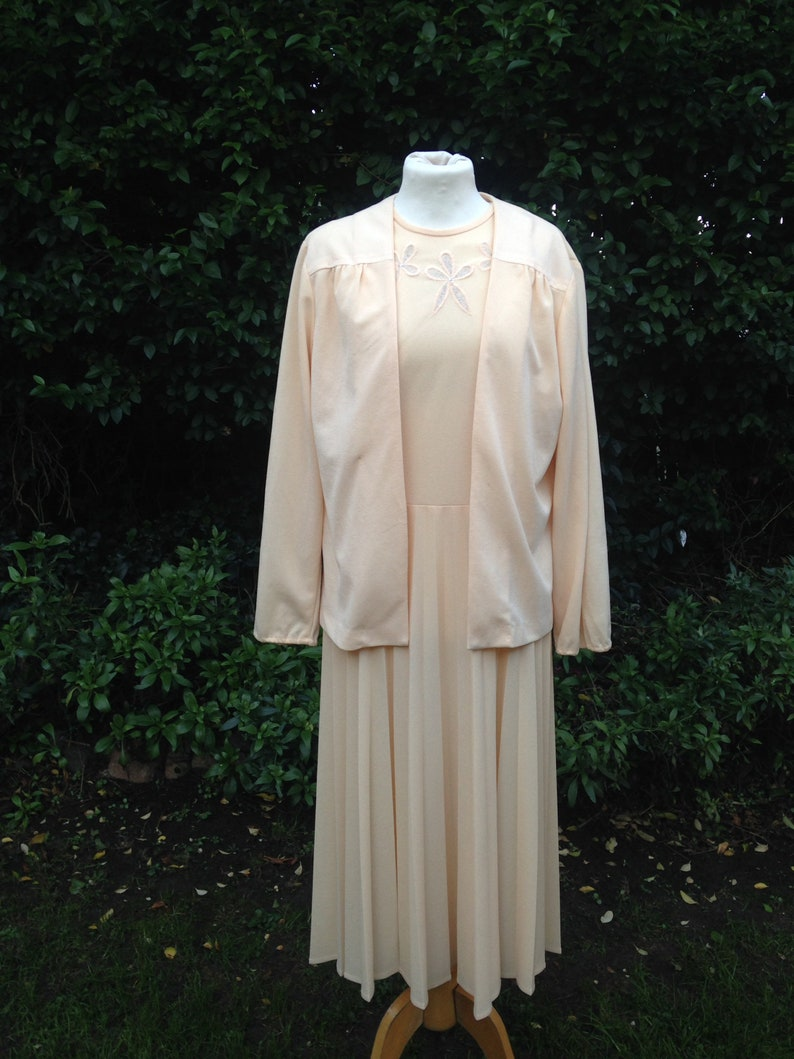 Vintage 1980s Two Piece Dress and Jacket Suit Pleated Skirt image 1