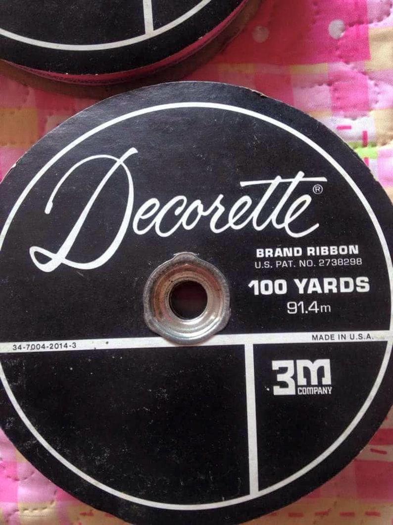 Vintage USA Decorette Floristry Craft Ribbon 2 reels. Pink & image 0