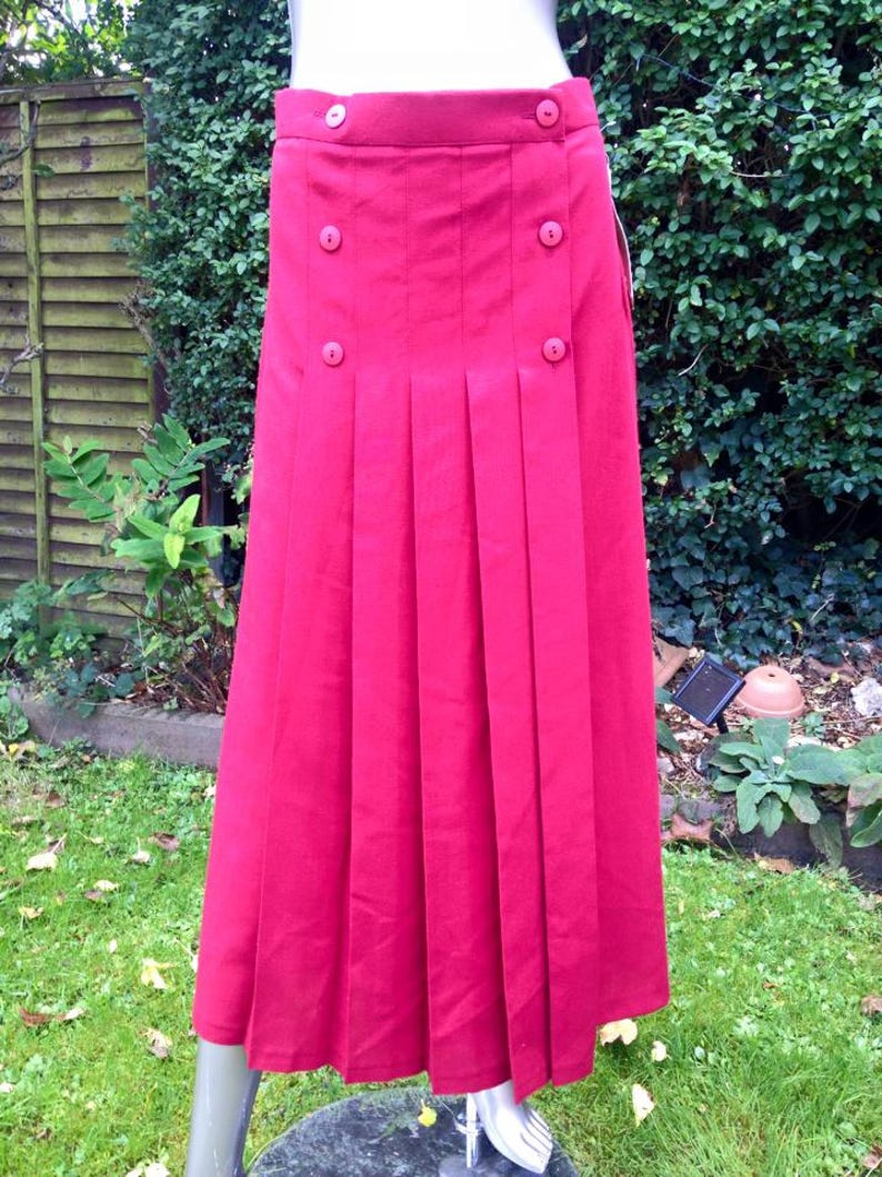 Vintage 1980s Red Discobond of London Pleated Skirt image 0