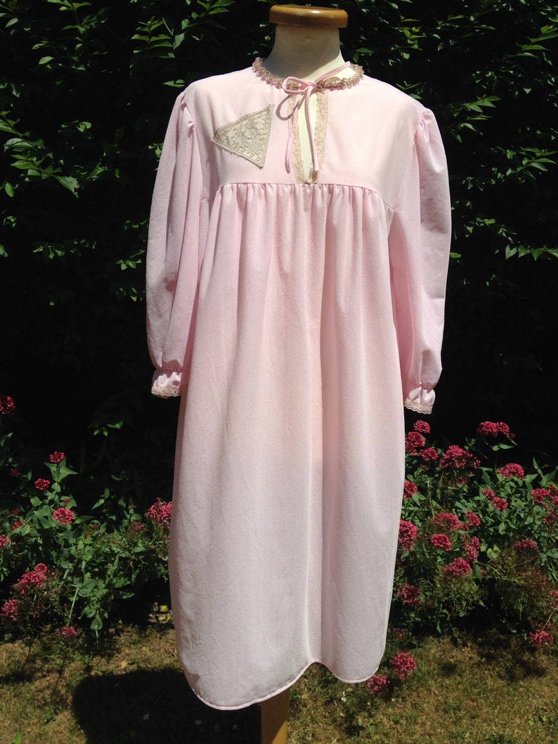 Vintage 1970s pale pink soft nylon night dress with long image 0