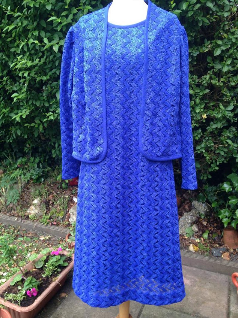 Vintage 1960s 1970s Bright Royal Blue Two Piece Dress and image 0
