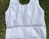 Vintage, Antique Victorian Edwardian White Cotton Undergarment, Camisole, Corset Cover.