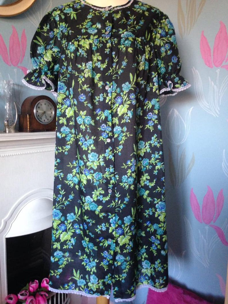 Vintage 1960s 1970s Black with blue and green flowers Baby image 0