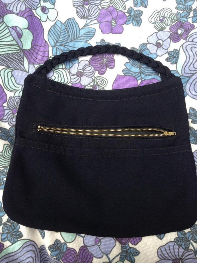 Vintage 1930s Black Crepe Bag. Hand Bag Clutch Bag Purse image 0
