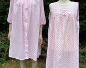 Vintage 1960s Pink and White Polka Dot Two Piece Baby Doll Peignoir Set. Nightie and Wrap, Robe, Lux Lux, Nightwear, Lingerie.
