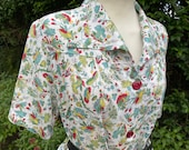 Vintage 1940s Floral Cotton Day Dress, Red Buttons, WWII, Mid-Century