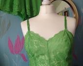 Vintage 1960s Bright Green Vanity Fair Lingerie Set, Full Slip and French Knickers, Underwear, Panties, Petticoat