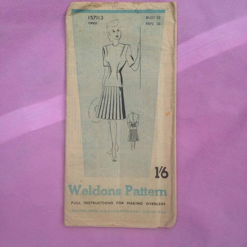 Vintage Weldons 1940s Utility Sewing Pattern for Ladies image 0