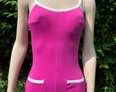 Vintage 1960s, 1970s Bright Purple Pink One Piece Swim Suit, Bathing Costume, Beach Wear, Summer Holiday, Sports.