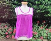 Vintage 1970s Purple Nylon Shortie Baby Doll Nightie. Nightwear, PJ Party, Sleepwear, Lingerie.