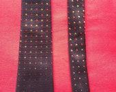 Vintage 1960s Men's neck tie by Austin Reed. Dark burgundy with polka dots. Men's accessory. Mod, Slim Jim.