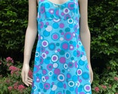 Vintage 1960s, 1970s Psychedelic Patterned Nylon Full Slip in Turquoise & Purple. Petticoat, Lingerie, Underwear as Outerwear.