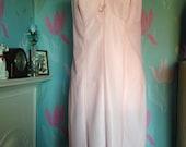 Vintage 1960s, 1970s pale pink full slip, petticoat from St Michael. Lingerie, lounge wear, underwear.