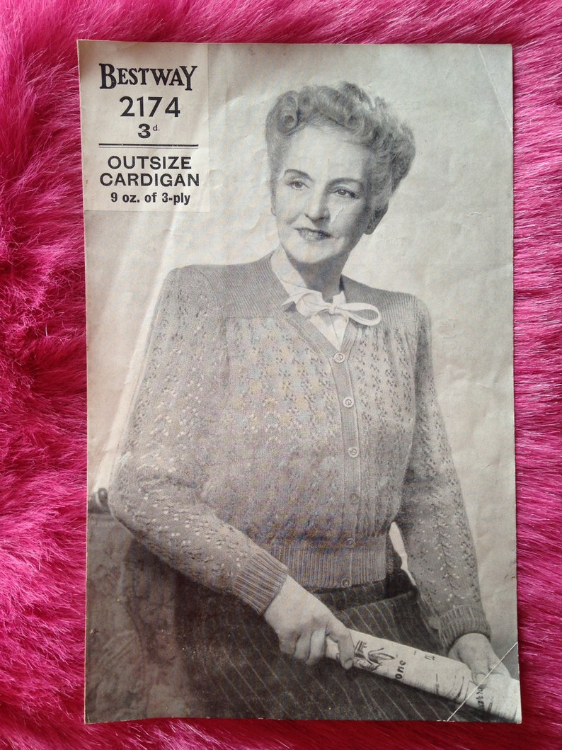 Vintage 1940s 1950s Bestway Knitting Pattern for Ladies' image 0