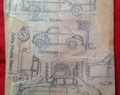 Vintage 1950s/1960s Embroidery Transfers with Classic Cars inc. Rolls Royce, Vauxhall Victor, Aston Martin.