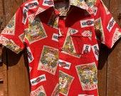 Vintage c. 1960s Mens, Boys Novelty Print Red Cotton Short Sleeved Shirt, Martini Design, Caesar of Sweden, Small