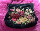 Vintage 1930s Tapestry, Needle Point Bag. Evening Bag, Purse, Embroidered Flowers. Clutch Bag.
