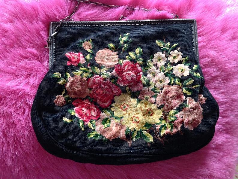 Vintage 1930s Tapestry Needle Point Bag. Evening Bag Purse image 0