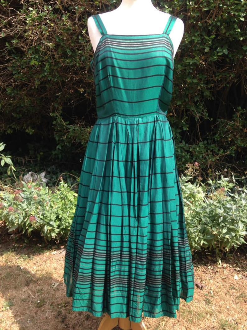 Vintage 1950s Mid Century Emerald Green Taffeta Dress with image 0