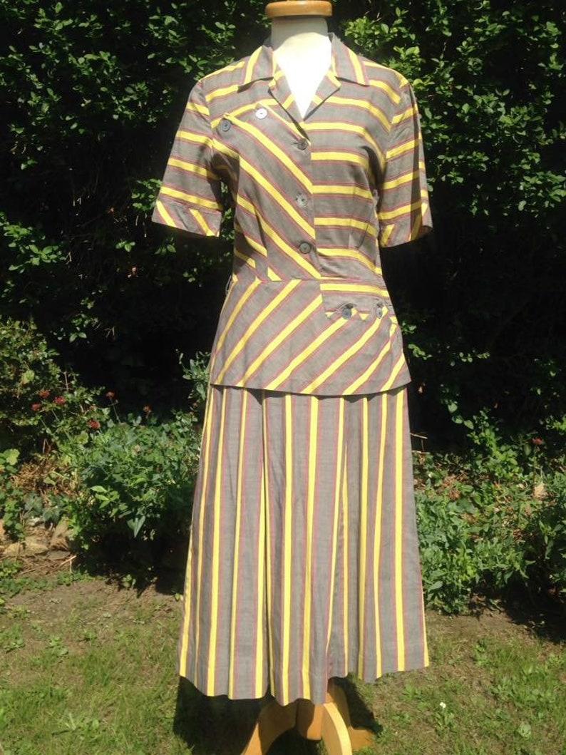 Vintage 1950s Mid Century cotton striped shirt waister dress. image 0