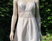 Vintage 1970s Pinky Beige Nylon Full Slip, Petticoat with Cut-Out Detail. Lingerie, Underwear, Retro Pin-Up. Pippa Dee.