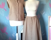 Vintage 1970s Ladies Two Piece Brown, Beige Gerry Finn Linen Suit Skirt and Blouse. Unworn with tags, Safari style suit.