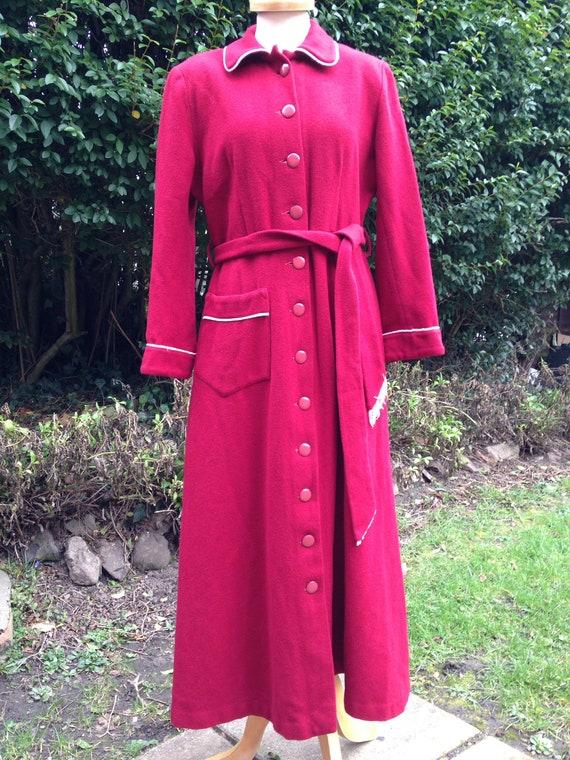 Vintage 1940s, 1950s Burgundy Wool Dressing Gown,