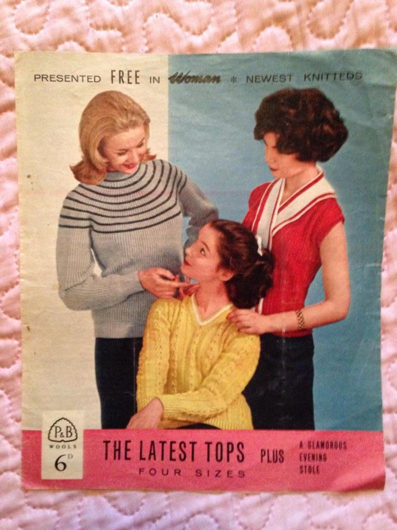 1950s Knitting Pattern for Ladies Jumpers Sweaters Stole. image 0