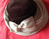 Vintage 1940s, 1950s 1960s Brown and Cream Hat with Bow. Headwear, Vintage Accessory, Mid-Century.