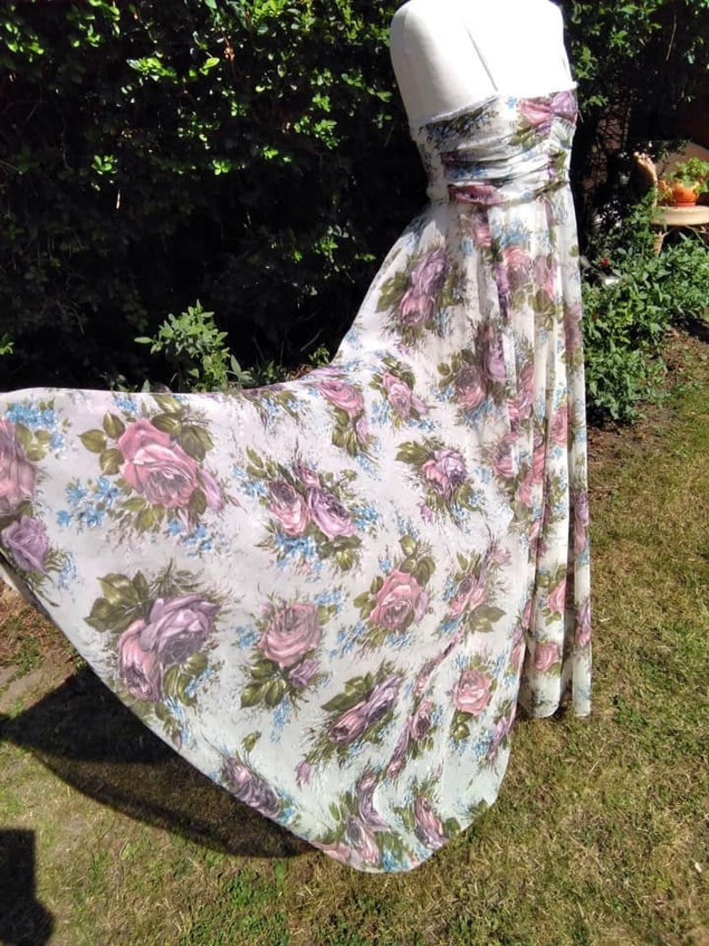 Vintage 1950s Mid Century Hand Made Floral Party Dress Prom image 0