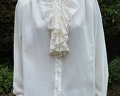 Vintage 1980s, 1990s Cream Blouse With Lace Ruffles, New Romantic.