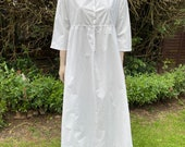Vintage, Antique c. Victorian white cotton hand made night gown. Nightie, Nightwear, Trousseau, Costume.