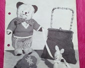 1950s Vintage Knitting Pattern Booklet From Copley for Toys, Bag, Mittens, Tea Cosy, Scarf, Bed Cape etc.