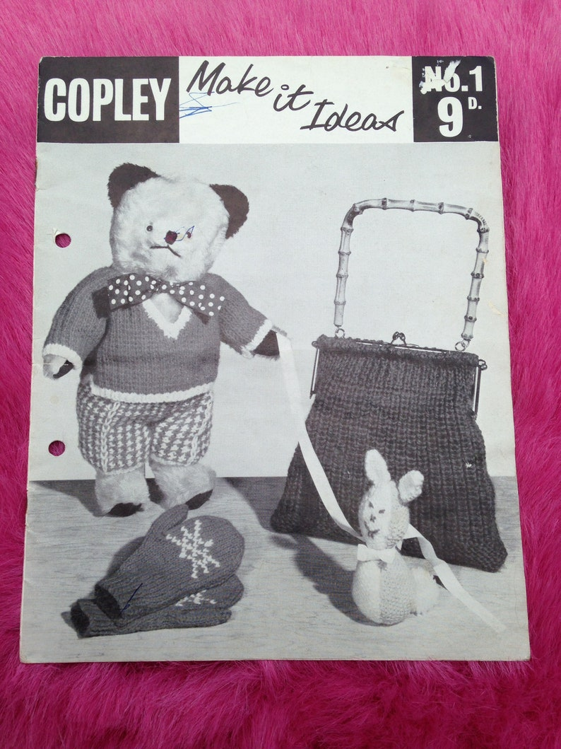 1950s Vintage Knitting Pattern Booklet From Copley for Toys image 0