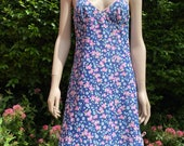 Vintage 1960s, 1970s Psychedelic Patterned Nylon Full Slip in Blue & Bright Pink. Petticoat, Lingerie, Underwear as Outerwear.