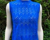 Vintage 1960s Bright Royal Blue Acrylic Knit Sleeveless Jumper, Sweater, Mod Style.