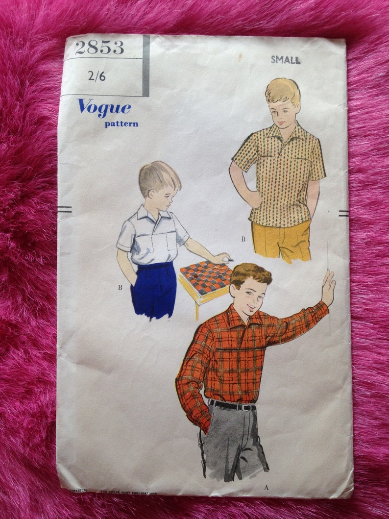 Vintage 1950s 1960s Vogue sewing pattern for boy's sport image 0