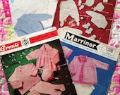 Four Vintage Knitting Patterns for sets of Baby Clothes. Bronte, Sirdar, Marriner, Jarol. Pram Set, Coat, Tights, Hats, Bootees, Layette.