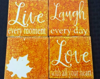 Ceramic Coasters set of 4,Love,Laugh,Live,Christmas gift,holiday,maple leave