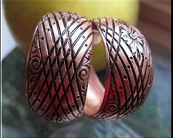 Copper Hoop Earrings CE1112CO2-  1 1/4 inch in diameter
