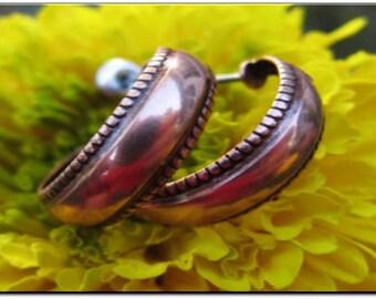 Solid Copper Hoop Earrings CE1263C01 - 3/4 of an inch in diameter
